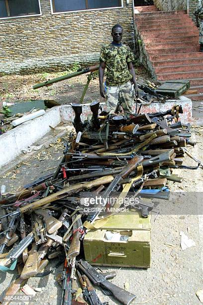 Picture of seized weapons taken 23 March 2003 at the Deroux military camp in Bangui where Chadian soldiers part of a regional peacekeeping force...