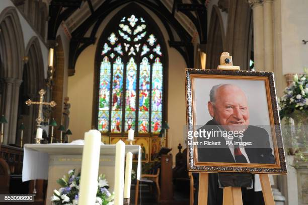A picture of Sir Tom Finney sits by the alter before his Funeral at St John's Minster Preston