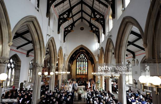 A picture of Sir Tom Finney sits next to his coffin during his Funeral service at St Johns Minster Preston