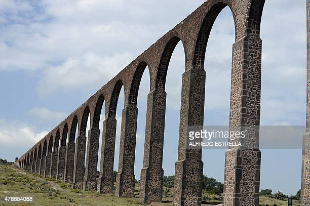 Picture of the aqueduct of Tembleque in the Tepeyahualco community Hidalgo State Mexico taken on June 26 2015 The aqueduct constructed between 1541...