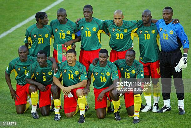 Picture of the Cameroon's soccer players taken before their soccer Confederations Cup match against USA 23 June 2003 at the Gerland Stadium in Lyon...