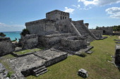 Picture of The Castle the main temple at the PreColumbian Mayan site of Tulum built on the eastern coast of the Yucatan Peninsula on the Caribbean...