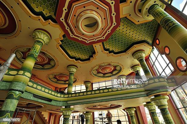 Picture of the ceiling of the function room of a building built in neoAndean baroque architecture known as Cholet style in El Alto Bolivia taken on...
