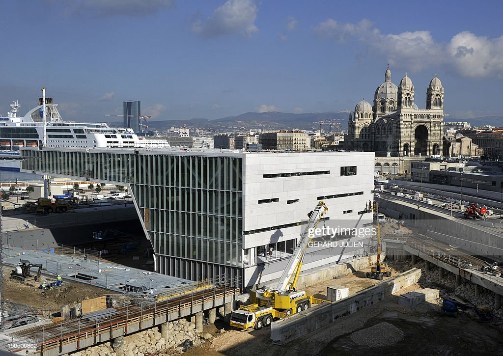 Picture of the construction site for the Museum of Civilizations from Europe and the Mediterranean (MuCEM) taken on November 16, 2012in Marseille. The museum, based in the Fort Saint-Jean overlooking the southern French city will open 2013 when Marseille will be the European capital of Culture. AFP PHOTO GERARD JULIEN