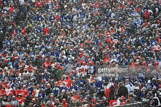 A picture of the crowd covered in snow during the Bridgestone NHL Winter Classic between the Detroit Red Wings and the Toronto Maple Leafs on January...