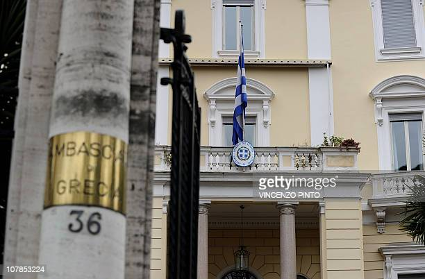 Picture of the entrance of the Greek embassy taken on December 27 2010 in Rome after a parcel bomb was found today just days after two similar...