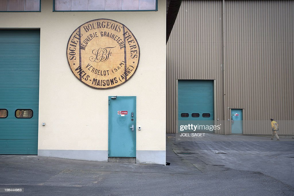 Picture of the entrance of the Quern-stone mill of flour maker society 'Moulin bourgeois' taken on November 15, 2012 in Verdelot. AFP PHOTO /JOEL SAGET