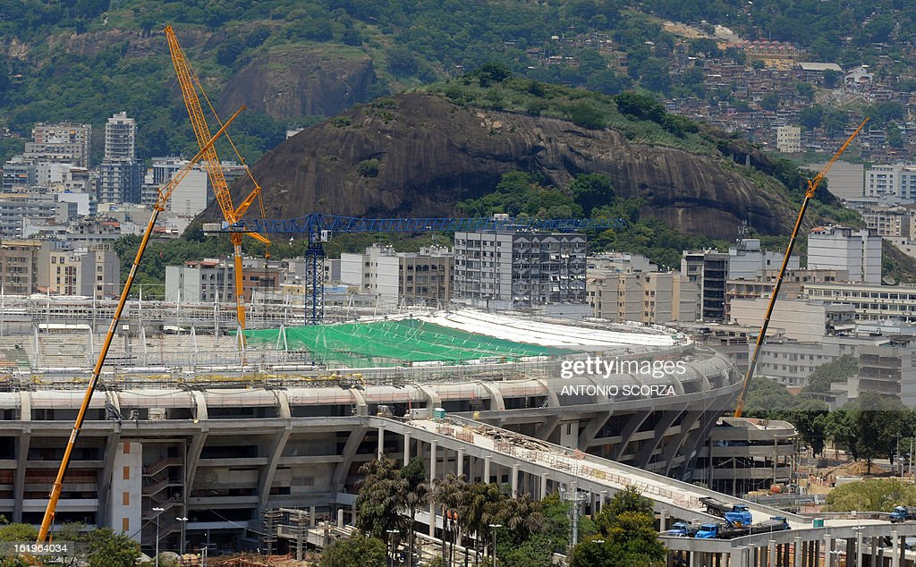 Picture of the famed Maracana football stadium in Rio de Janeiro taken on February 18, 2013 as renovation works for the 2014 World Cup -- including the construction of a roof -- gets underway. The Maracana is classified as an historic monument so the facade will be maintained but a roof will be added to the five-storey oval stadium.