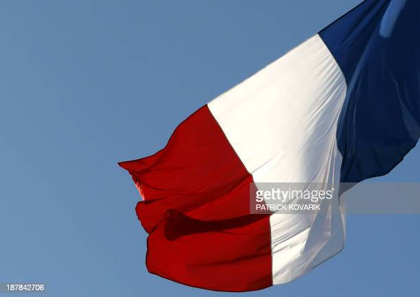 Picture of the French national flag taken on November 13 2013 in Paris AFP PHOTO / PATRICK KOVARIK