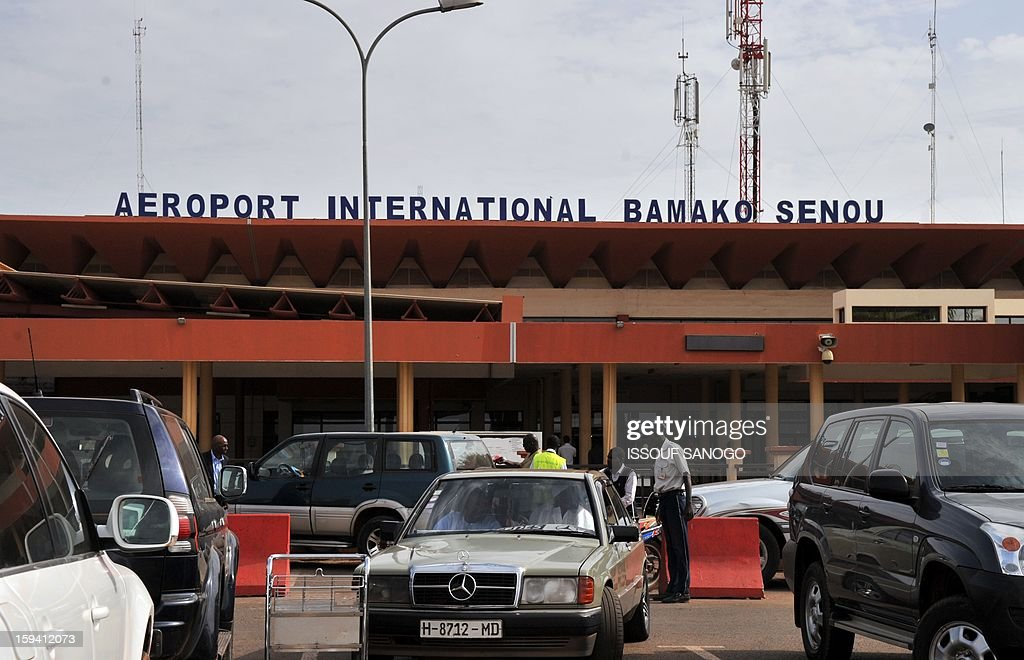 Picture of the front entrance of Bamako's Senou international airport taken on January 13, 2013 as African nations rushed today to deploy a 3,300-strong force aimed at helping Mali retake its Islamist-controlled north and French jets destroyed Islamist targets, forcing insurgents to retreat on the third day of a game-changing intervention that has been met with relief by the population and spurred the region into action. AFP PHOTO / ISSOUF SANOGO
