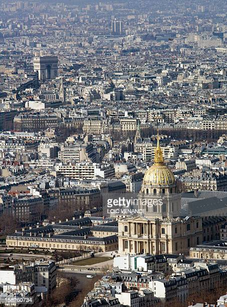 Picture of the Invalides Hotel and the Triumph arch taken from the top of the Montparnasse Tower on March 10 2010 in Paris AFP PHOTO LOIC VENANCE