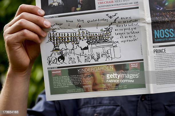 A picture of the last page of the 'Montreux Jazz Chronicle' daily newspaper with a photo of Gregory Villemin pictured on July 16 2013 in Montreux A...