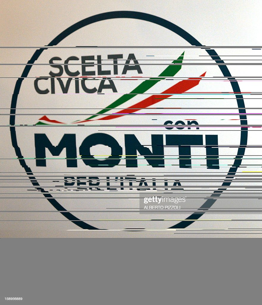 Picture of the logo of Italian outgoing Prime Minister Mario Monti's new party taken during a press conference in Rome on January 4, 2013. The coalition of centrist parties led by Monti is currently running in fourth place ahead of early elections in February, according to a poll published on to-day.