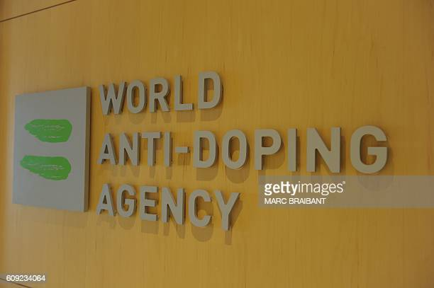 Picture of the logo of World AntiDoping Agency taken on September 20 2016 at the headquarter of the organisation in Montreal / AFP / Marc BRAIBANT