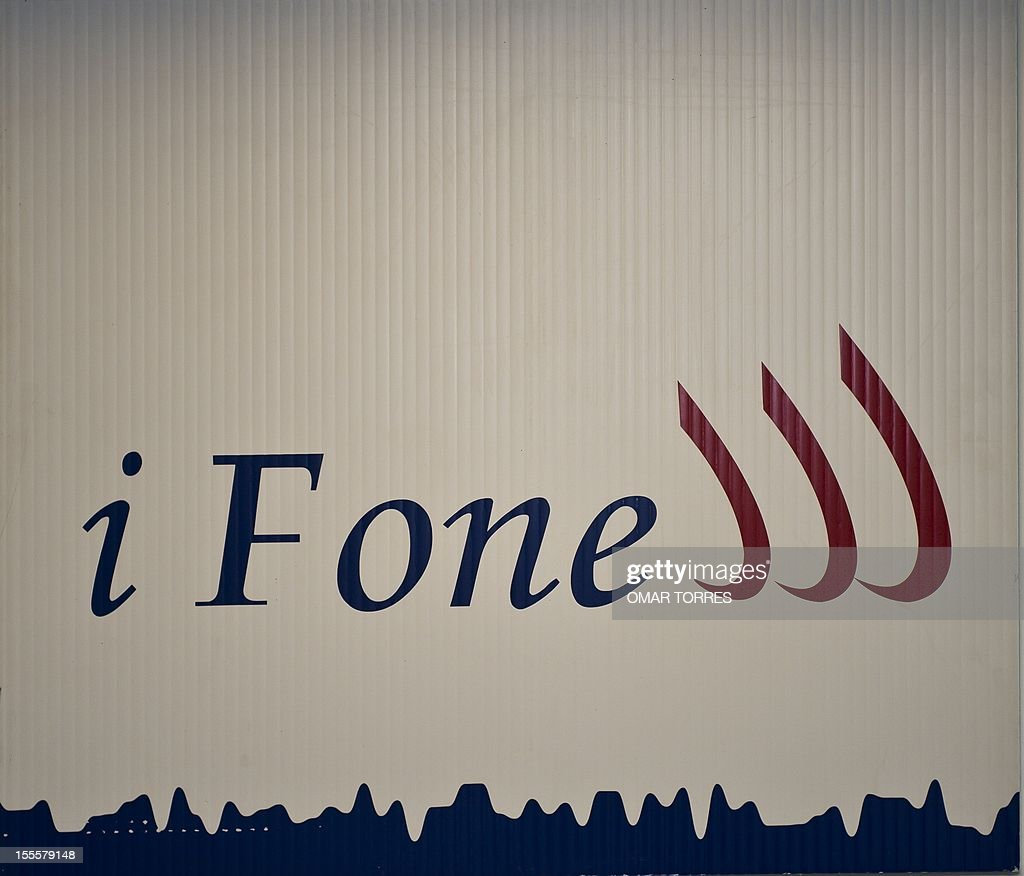 Picture of the logotype of the Mexican Telecommunications company IFone taken at the firm's headquarters in Mexico City, on November 5, 2012. The telecommunications firm named iFone has declared victory in a trademark battle with Apple's iPhone, exposing the US company to a potential compensation payment, according to a statement released by the Mexican company this weekend. The Mexican firm said in a statement that a court denied Apple's bid to protect the iPhone name in a case that began in 2009, when iFone sued the California-based company because the similar-sounding names caused confusion.