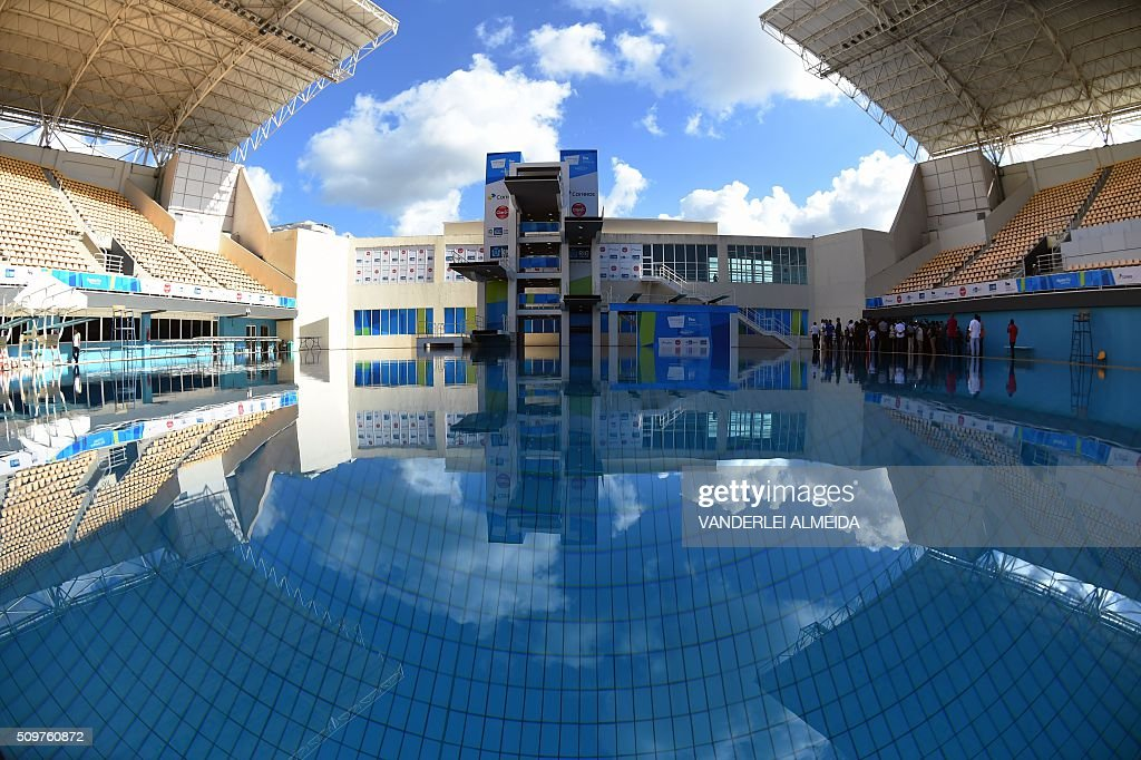 Picture of the Maria Lenk Aquatics Centre that will host the diving and synchronized swimming at the upcoming Olympic Games, at the Olympic Park in Rio, Brazil, taken on January 12, 2016 during the visit by the Mayor of Rio de Janeiro, Eduardo Paes. Brazil will hold the Rio 2016 Olympic Games from August 5 through 21. AFP PHOTO / VANDERLEI ALMEIDA / AFP / VANDERLEI ALMEIDA
