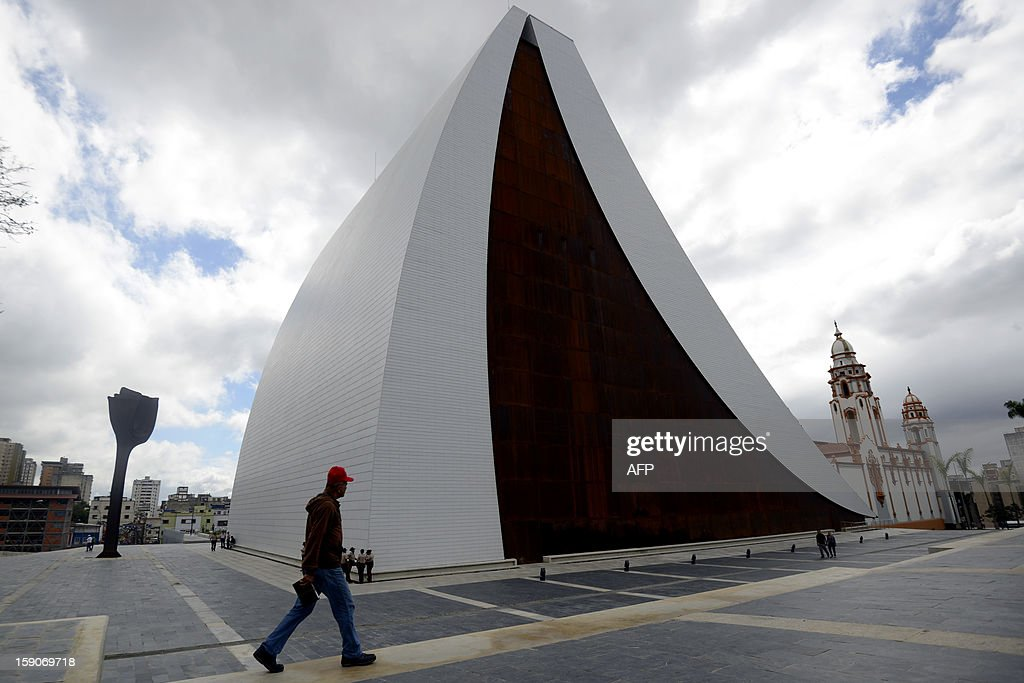 Picture of the new mausoleum that will host the remains of national hero Simon Bolivar, a tribute of President Hugo Chavez to the Liberator, in Caracas on January 7, 2012. The church weighed in with four days to go before President Hugo Chavez, who is in Cuba recovering from cancer surgery, is supposed to be sworn in to a new six year term. Venezuela's Catholic church warned the government Monday it would be 'morally unacceptable' to override the constitution amid an intensifying crisis over Chavez's health. His vice president has argued that the swearing in can be delayed indefinitely, calling it a 'formality,' and that Chavez's current administration can continue in office until a new one can be sworn in. AFP PHOTO/Leo RAMIREZ