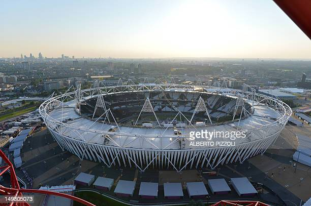 Picture of the Olympic Stadium at the Olympic Park in London taken on July 25 2012 on the eve of the opening ceremony of the London 2012 Olympic...