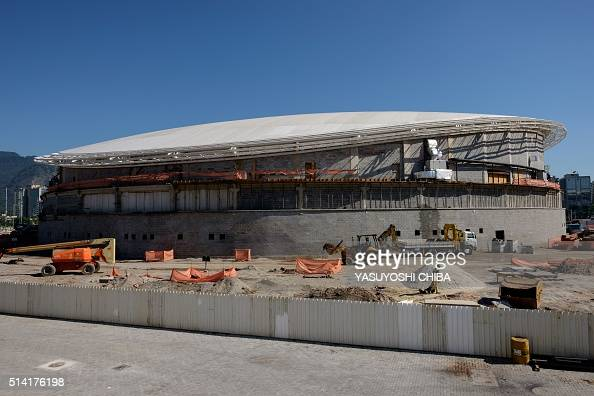 Picture of the Olympic Velodrome taken during the construction of the Rio 2016 Olympic Games' Olympic Park in Rio de Janeiro Brazil on March 6 2016...
