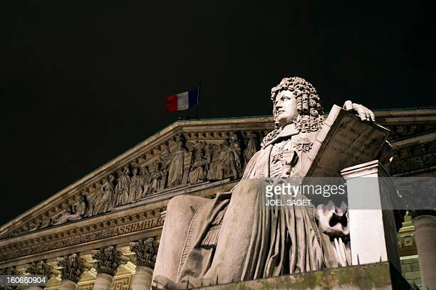 Picture of the Palais Bourbon the seat of the French National Assembly taken on February 4 2013 at the National Assembly in Paris AFP PHOTO JOEL...