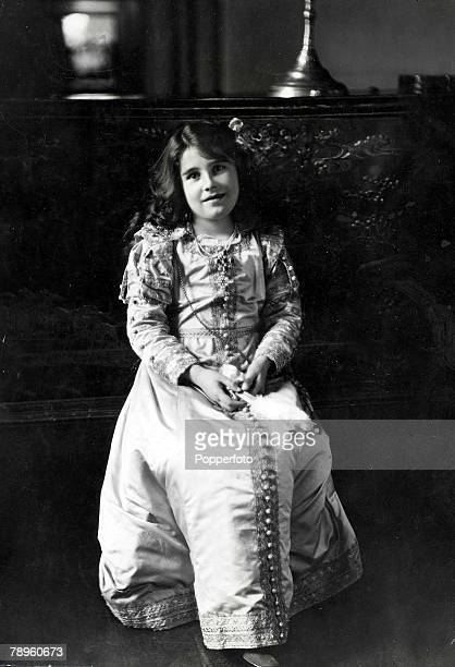 1909 picture of the Queen Mother then Lady Elizabeth BowesLyon during a dance leeson at Glamis Castle as a child