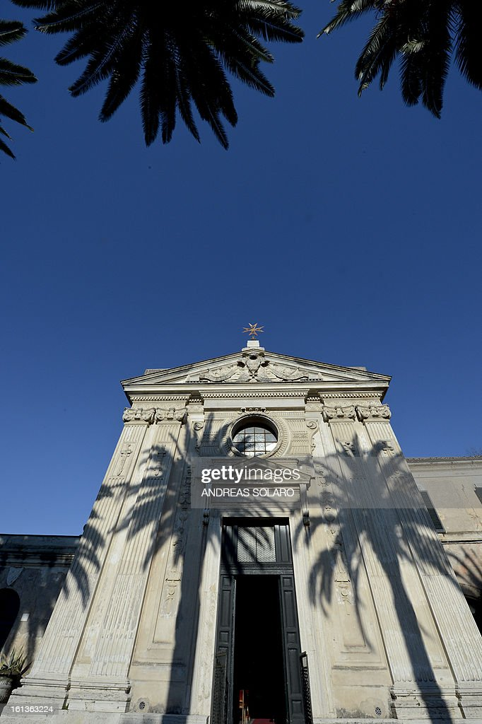 A picture of the Santa Maria del Priorato Church at the 'Villa Magistrale', the historical site of the Order of Malta Knights, taken on February 10, 2013 in Rome. The historical site of the Villa of the Priory, is open to the public to celebrate the 900th anniversary of the Order of the Knigths of Malta.