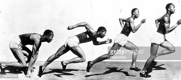 1936 A picture of the top American athlete Jesse Owens starting a race The picture is a composite image of him crouching ready to start then setting...