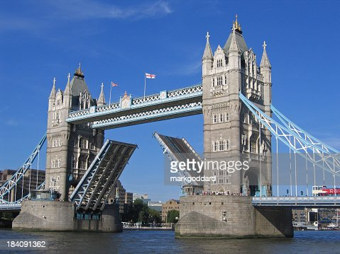 A picture of the tower bridge rising
