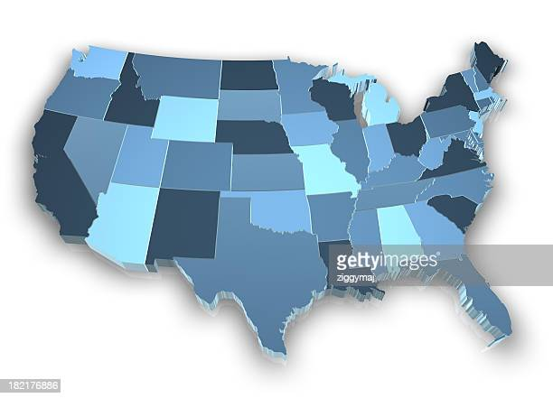 A picture of the United States of America in shades of blue