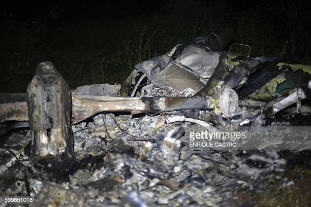 Picture of the wreckage of a helicopter that was involved in a police operation and was allegedly shot down by drug traffickers taken late on...