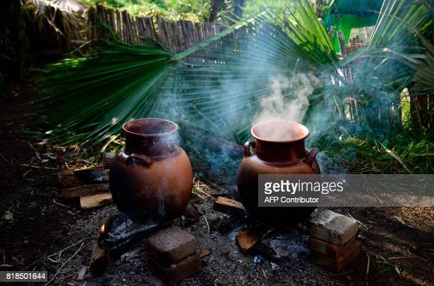Picture of two clay vases used to cook taken during a symposium on biodiversity and gastronomy amid the floating gardens of Xochimilco a UNESCO World...
