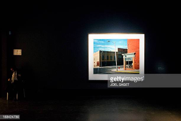 A picture of US artist Edward Hopper is displayed during the inauguration of the exhibition dedicated to him on October 5 2012 at the Grand Palais in...