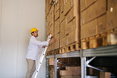 Picture of young hard working man in warehouse standing on ladders and counting boxes. Dressed in white coat and yellow helmet.