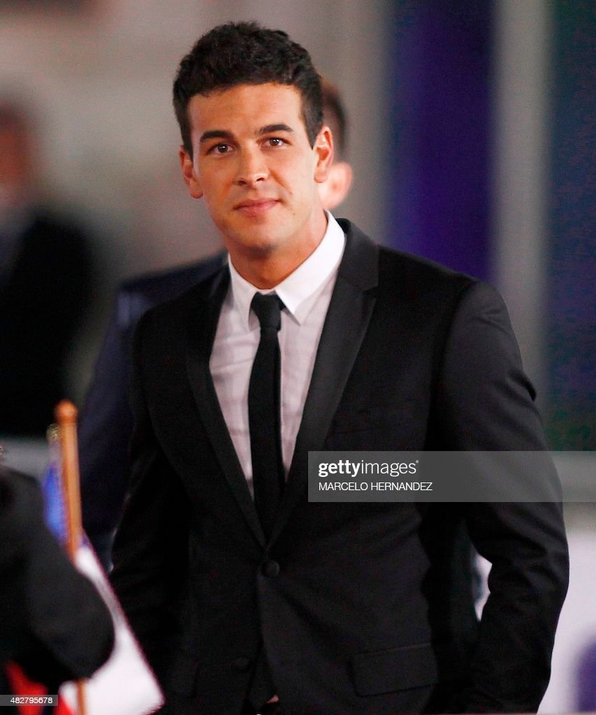 The actor of the film 'The 33' Mario Casas poses for the photographers in Santiago August 02 during the avant premiere of the film that tells the...