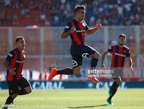 Picture released by Noticias Argentinas showing San Lorenzo's Uruguayan player Martin Cauteruccio celebrating after scoring against Union de Santa Fe...