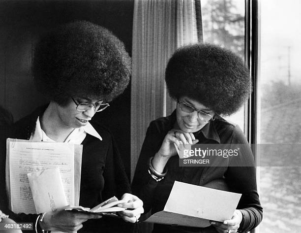 Picture released on April 1972 in Berlin of US communist militant Angela Davis and Kendra Alexander wife of Franklin Alexander speaker of The...