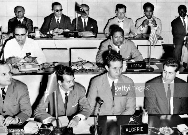 Picture released on August 6 1963 of Algerian President Ahmed Ben Bella and Minister of Youth Sport and Tourism of Algeria Abdelaziz Bouteflika...