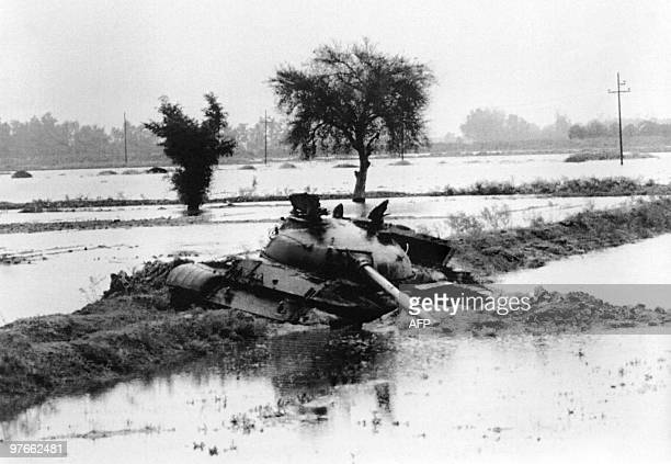 Picture released on December 08 1980 of an Iraqi tank trapped in flood area just outside town of Ahvaz during IranIraq war