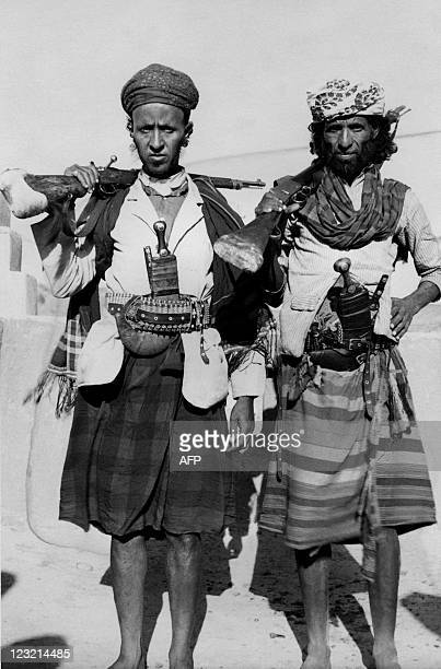 Picture released on February 15 1957 showing Yemeni fighters belonging to the South British protectorate in Aden A civil started in the 60s between...