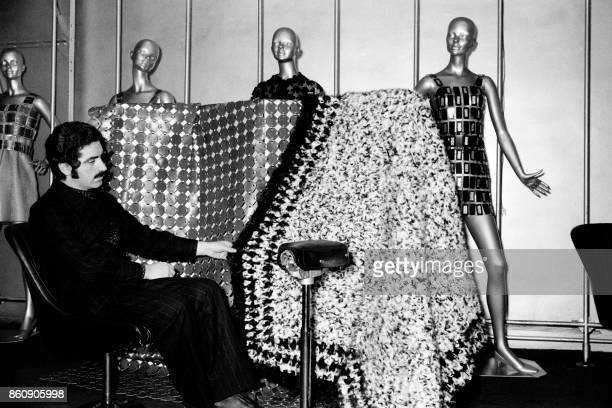 Picture released on February 28 1969 of Spanish designer Paco Rabanne presenting metal dresses and creations / AFP PHOTO /