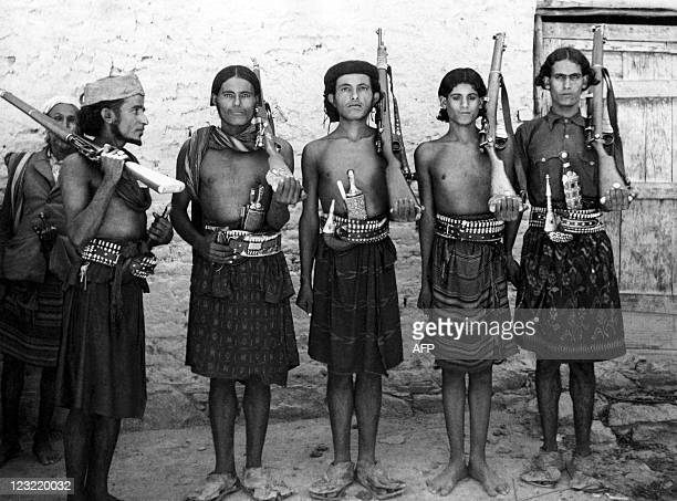 Picture released on Ferbruary 15 1957 shows Yemeni fighters belonging to the South British protectorate in Aden A civil war started in the 60s...