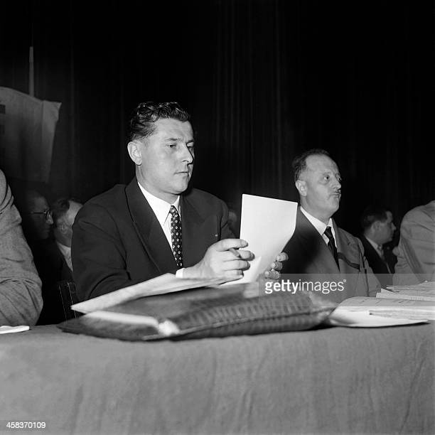 Picture released on July 5 1954 of Pierre Poujade French politician and creator of the UDCA Defense Union of Shopkeepers and Craftsmen during a...