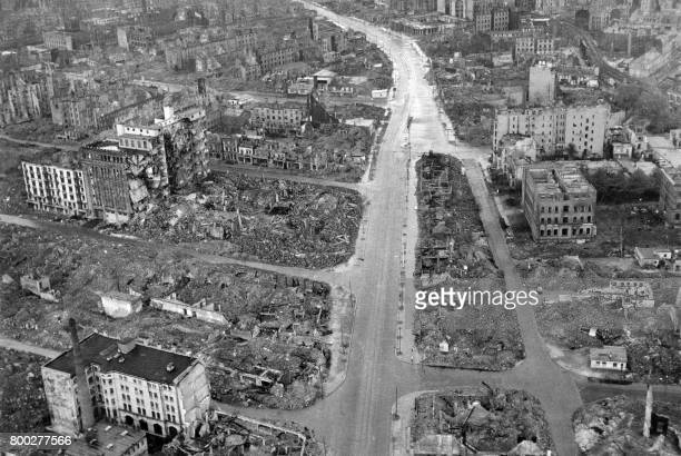 Picture released on May 3 1945 of the wrecked German town of Hamburg after Royal Air Force bombings during the Second World War / AFP PHOTO / Royal...