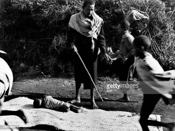 Picture released on November 11 1973 in Ethiopia of a dead child lying on a mat victim of starvation and malnutrition as Ethiopia and the west...