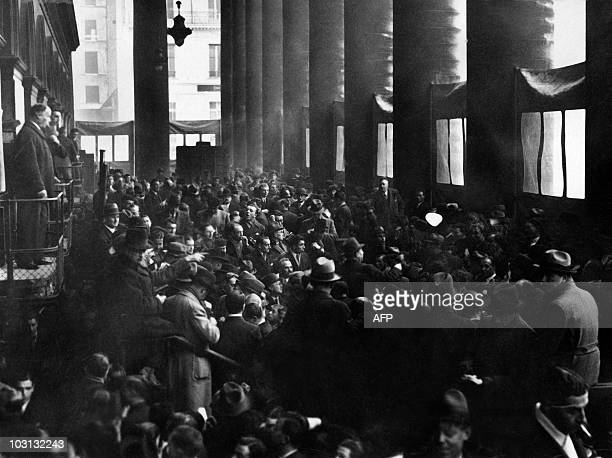 Picture released on November 1935 of traders working at the Stock Exchange in Paris