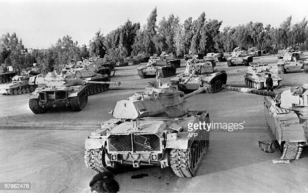Picture released on October 1980 of Iranian artillery tanks arms and munitions captured by the Iraqi army during Iran / Iraq war