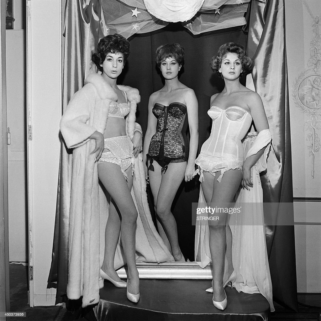 Picture released on October 27 1961 in Paris of models showcasing lingerie by the French brand Charmereine and Charmis in Paris