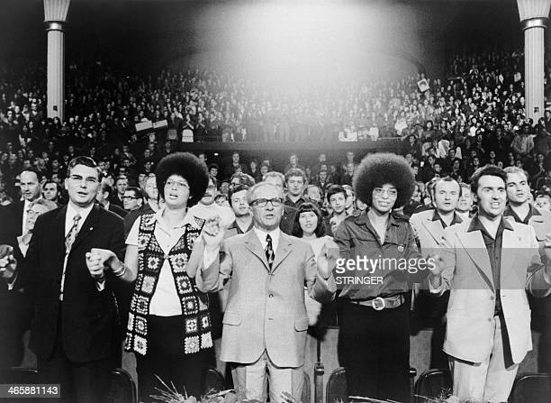 Picture released on September 18 1972 in Berlin of US militant Angela Davis attending a friendship meeting