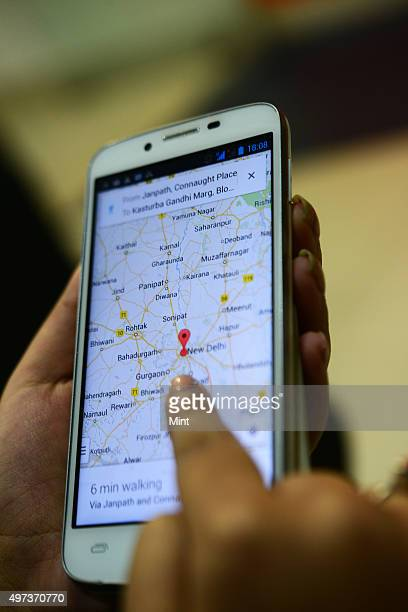 Picture showing person accessing Google map on December 19 2013 in New Delhi India
