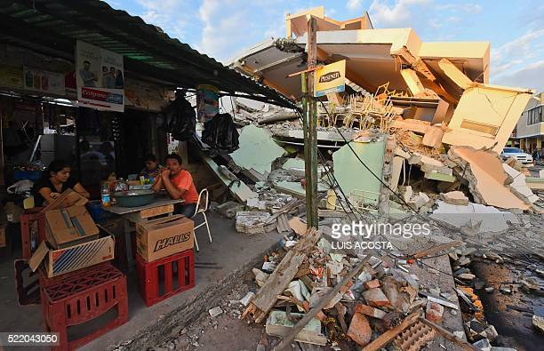 Picture showing the destruction in Manta Ecuador on April 17 2016 a day after a powerful 78magnitude quake hit the country The toll from the big...